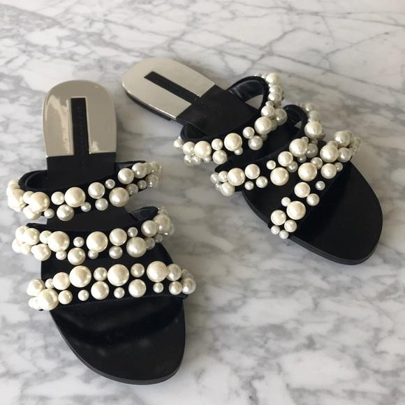 c12e7bc35 Zara Shoes | Velvet Pearl Flat Sandals | Poshmark